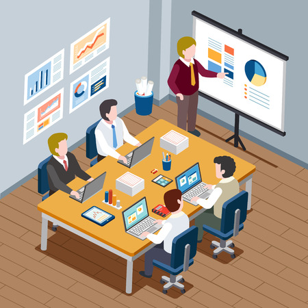 design office: flat 3d isometric design - office meeting concept