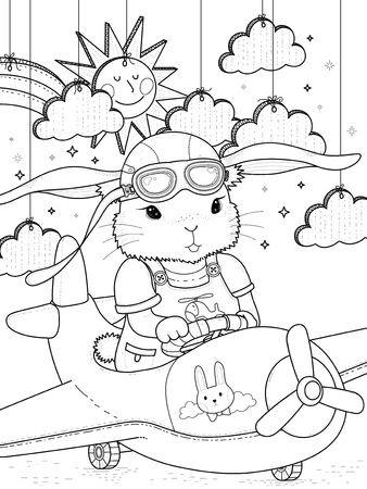 Lovely bunny pilot coloring page with clouds and sun Illustration