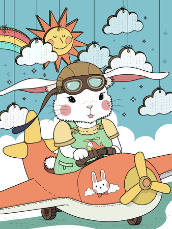 Lovely bunny pilot coloring page with clouds and sun
