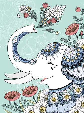 elephant: Beautiful white elephant coloring page with floral background