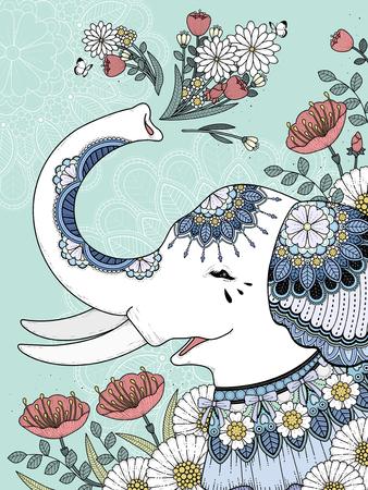Beautiful white elephant coloring page with floral background Vektoros illusztráció