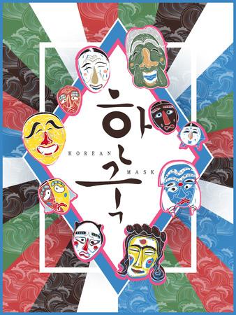 Affiche fascinante de masque de Corée - Corée écrite en mots coréens