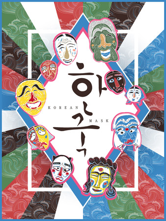 attractive Korea mask poster - Korea written in Korean words