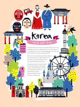 Diseño del cartel del viaje Corea moderna con atracciones