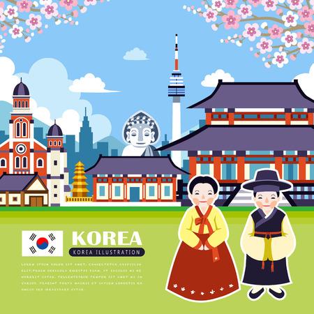 schattig reisposter ontwerp-Korea met attracties Stock Illustratie