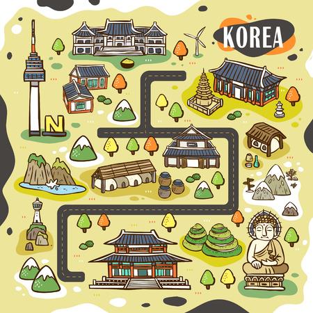 schöne Korea Reisekarte Design mit Hand gezeichneten Attraktionen