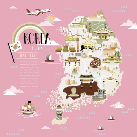 Corée carte Voyage conception avec des attractions sur fond rose