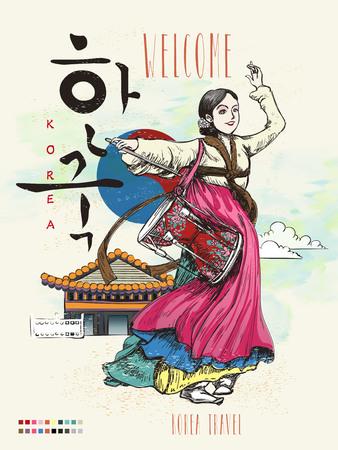 hanbok: Korea poster with traditional janggo dance - Korea written in Korean words