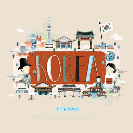 moder koreanischen Reiseplakatentwurf mit Attraktionen Vektorgrafik