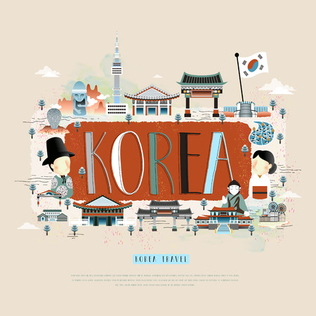 moder Korean travel poster design with attractions