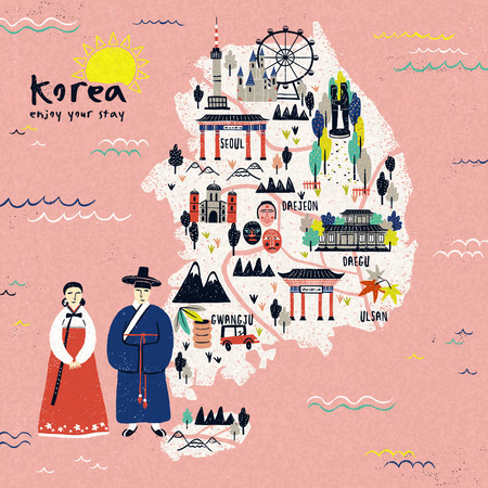 an illustration promoting: attractive Korea travel map design with attractions over pink background