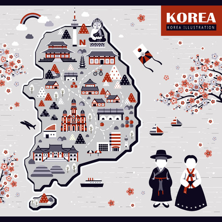 hanbok: elegant Korea travel map design with attractions in grey and red Illustration
