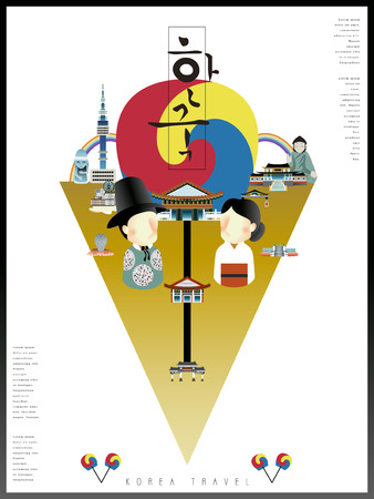 speciality: modern Korea poster design  - Korea written in Korean words