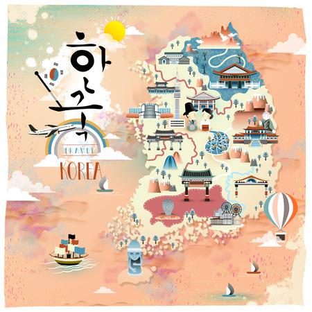 Korea travel map design - Korea written in Korean words
