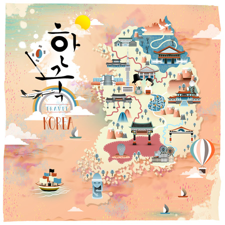 Korea travel map design - Korea in het Koreaans geschreven woorden Stock Illustratie