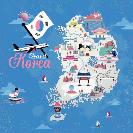 青い背景上のアトラクションと韓国旅行地図デザイン  イラスト・ベクター素材