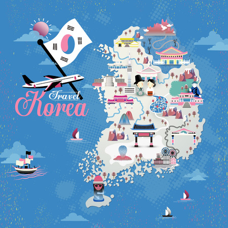 Korea travel map design with attractions over blue background
