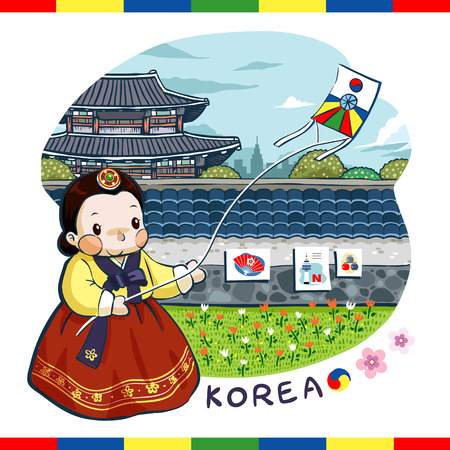 korea girl: adorable Korea poster design - a woman is playing with a kite Illustration