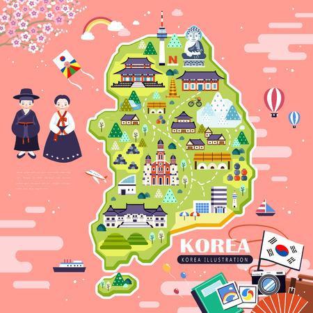 schöne Korea Reisekarte Design mit Attraktionen über rosa Meer Vektorgrafik