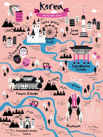 ピンクの背景の上のアトラクションと魅力的な韓国旅行地図デザイン