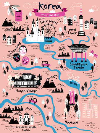 attractive Korea travel map design with attractions over pink background