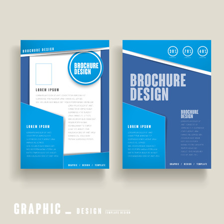 paper product: modern brochure template design in blue and white
