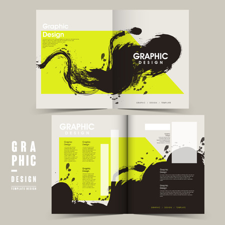 trendy bi-fold brochure template design with ink brush and geometric elements