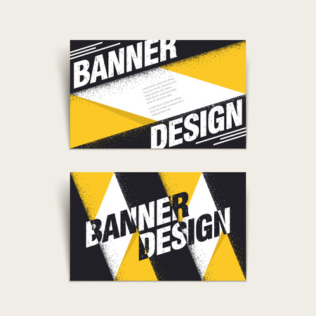 black yellow: modern business card template design with geometric elements