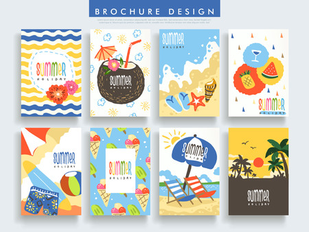 advertise: adorable brochure template design set with summer elements