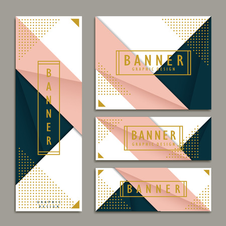 elegant banner template design set in origami style 向量圖像