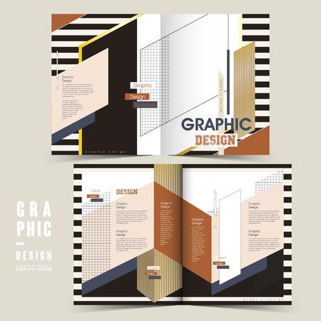 modern bi-fold brochure template design with geometric patterns