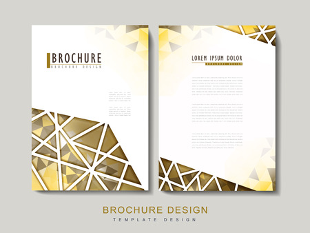 intro: modern brochure template design with polygonal element in golden color