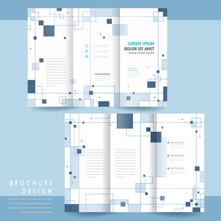 brochure: simplicidad de tres veces el diseño folleto plantilla con elementos cuadrados Vectores