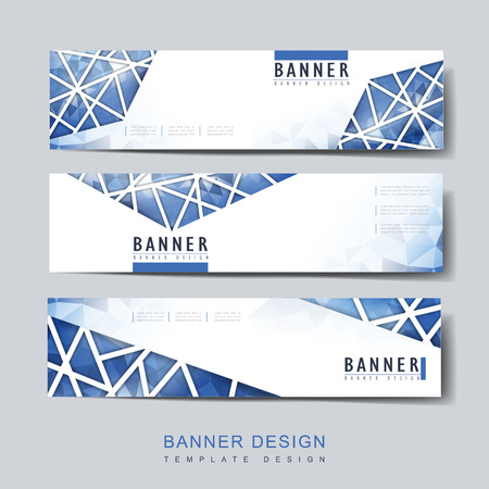 modern banner template design set with polygonal element in blue