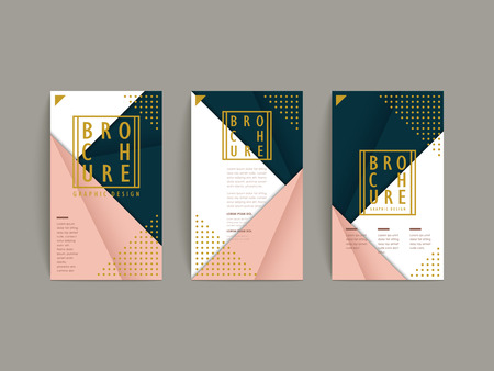 折り紙のスタイルで優雅なパンフレット テンプレート デザイン  イラスト・ベクター素材