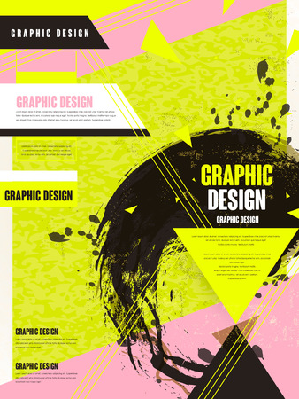 trendy brochure template design with ink brush and geometric elements