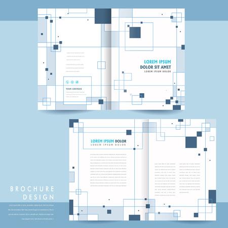 simplicity bi-fold brochure template design with squares elements Vetores