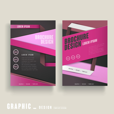 clean cut: contemporary brochure template design in pink and black Illustration
