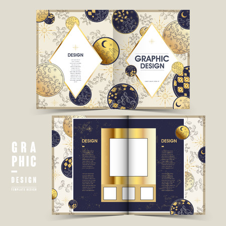 bifold: delicate bi-fold brochure template design with leaves elements Illustration