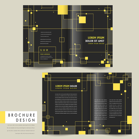 modern bi-fold brochure template design with squares elements