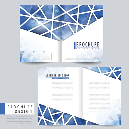 bifold: modern bi-fold brochure template design with polygonal element in blue