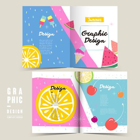adorable bi-fold brochure template design with summer elements