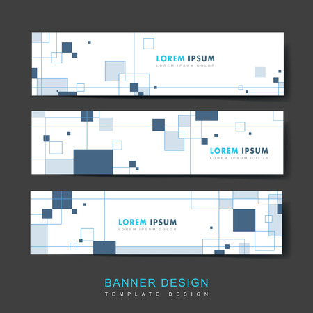 simplicity banner template design set with squares elements