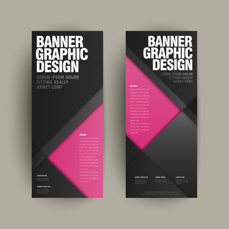 fuchsia color: modern banner template design set with geometric elements Illustration