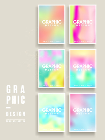 intro: colorful brochure template design set with blurred background