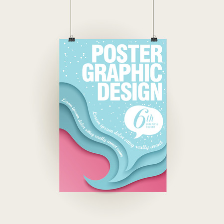tide: creative brochure template design with tide and beach Illustration
