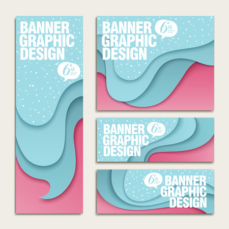 tide: creative banner template design set with tide and beach