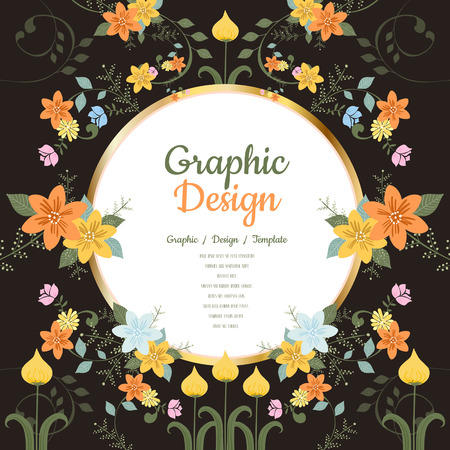 round back: graceful brochure template design with floral elements Illustration