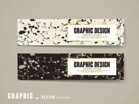 ink drops: elegant banner template design set with ink drops element
