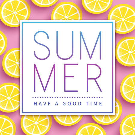 Trendy summer poster design - sliced citrus over pink background 版權商用圖片 - 60841341